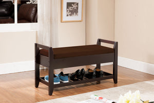 Espresso Brown Wood Entryway Shoe Bench Display With Storage & Shelves - Pilaster Designs