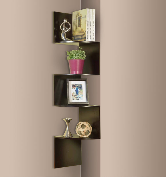 Espresso Wood 4 Tier Corner Wall Hanging Bookshelf Storage Display Organizer - Pilaster Designs