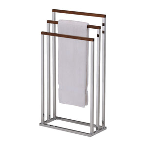 Preston Freestanding Towel Rack, Chrome Metal & Walnut Wood