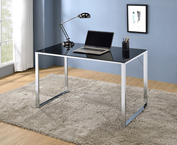 Ariah Desk, Chrome Metal & Black Tempered Glass
