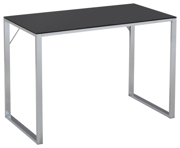 Ariah Chrome Metal With Tempered Glass Top Modern Home & Office Workstation Computer Desk - Pilaster Designs