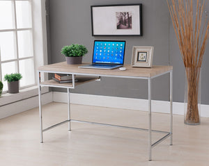 Diego Desk, Natural Wood & Chrome Metal