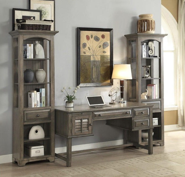 """Alois Distressed Gray Wood Rustic 55""""W Entertainment"""
