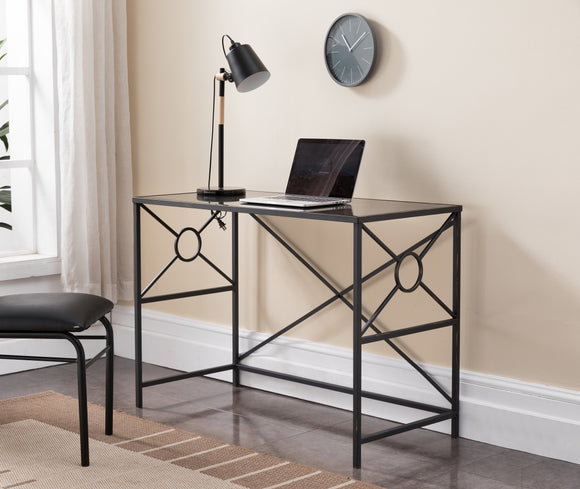 Remington Desk, Black Tempered Glass & Brushed Copper Metal