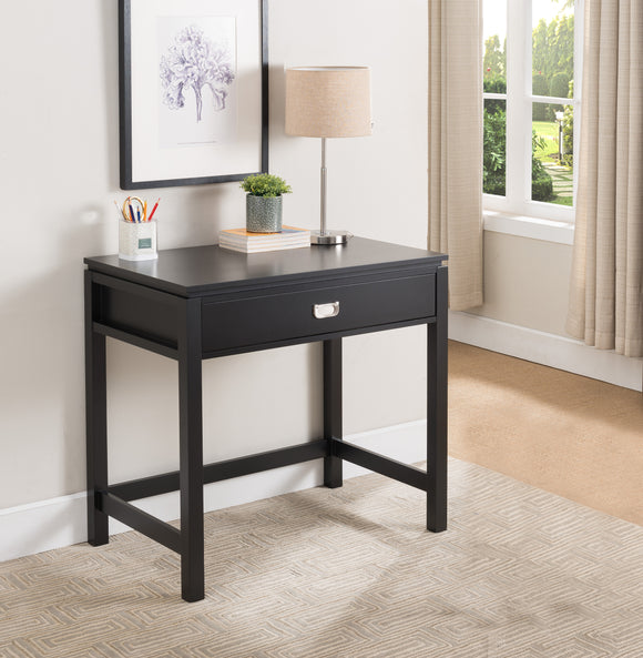 Helen Wood Contemporary Home & Office Workstation Computer Desk With Storage Drawer (Black, White) - Pilaster Designs