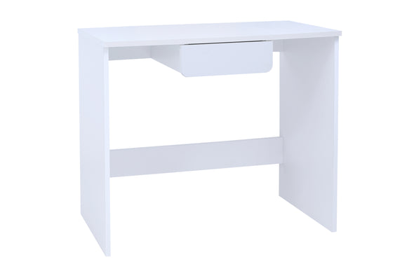 Haifa White Wood Contemporary Home & Office Writing Desk With Drawer - Pilaster Designs