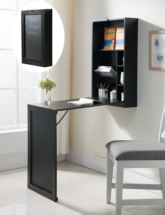 Renata Wall-Mounted Folding Desk, Black Wood