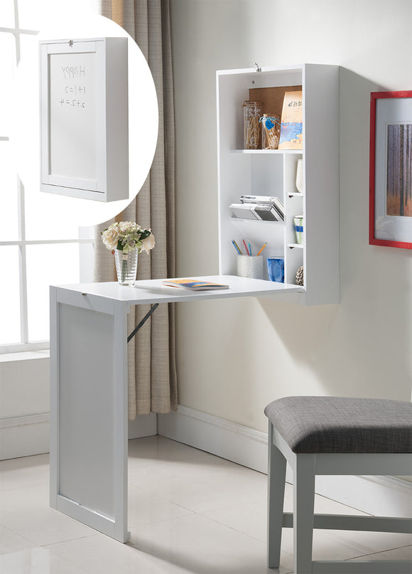 Renata Wall-Mounted Folding Desk, White Wood