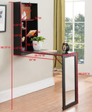 Evi Wall-Mounted Folding Desk, Black Wood & Mirror