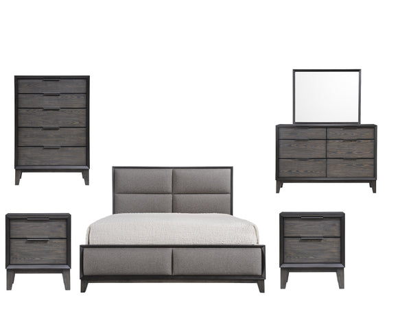 Consuelo 6 Piece Upholstered Bedroom Set, King, Gray Wood