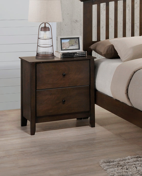 Chestnut Wood Shaker 2 Drawer Storage Bedroom Nightstand Bedside Table - Pilaster Designs
