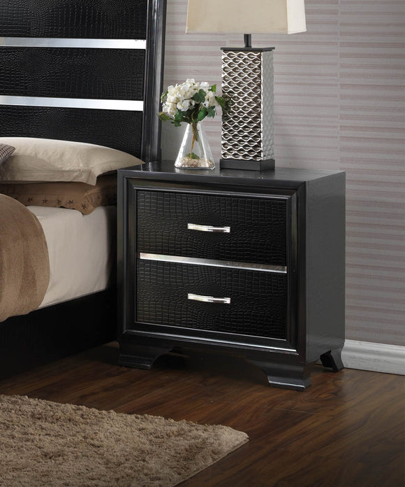 Black & Chrome Wood Contemporary 2 Drawer Storage Bedroom Nightstand Bedside Table - Pilaster Designs