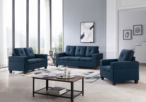 Boutwell 3 Piece Living Room Set, Blue Fabric