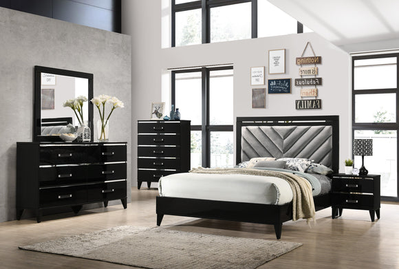 Hillsdale 6 Piece Bedroom Set, Queen, Black Wood