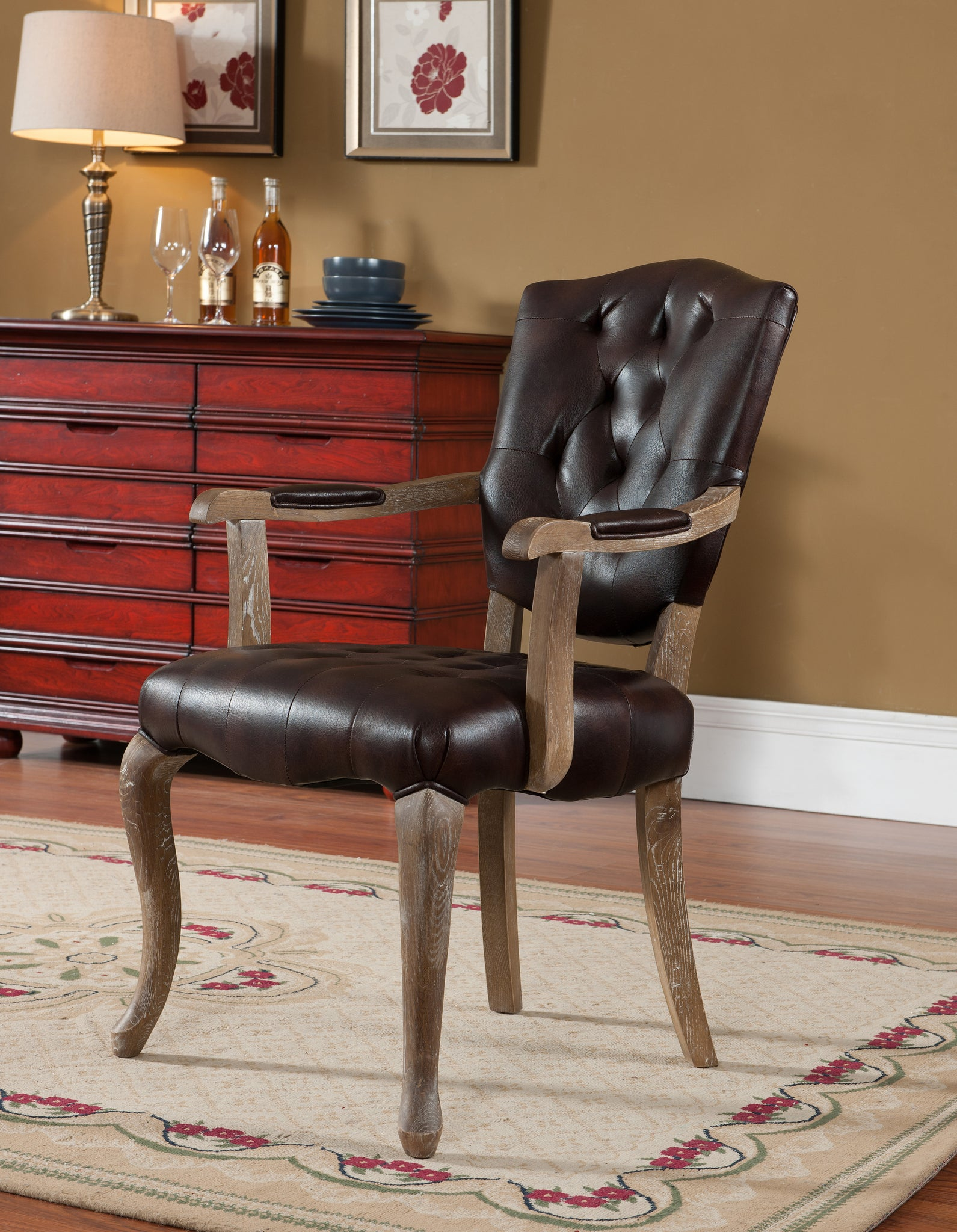 Two Tone Brown Upholstered Leather Accent Dining Room Arm