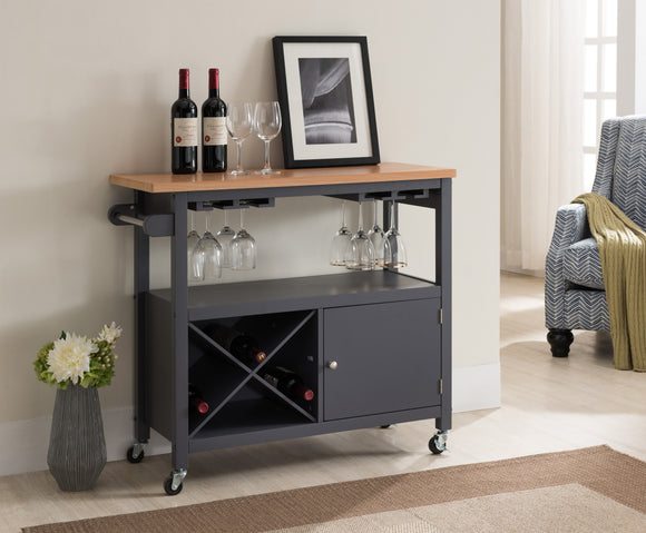 Jose Serving Cart, Gray & Natural Wood