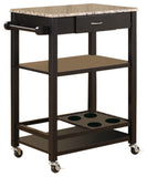 Jace Serving Cart, Black & Marble Wood