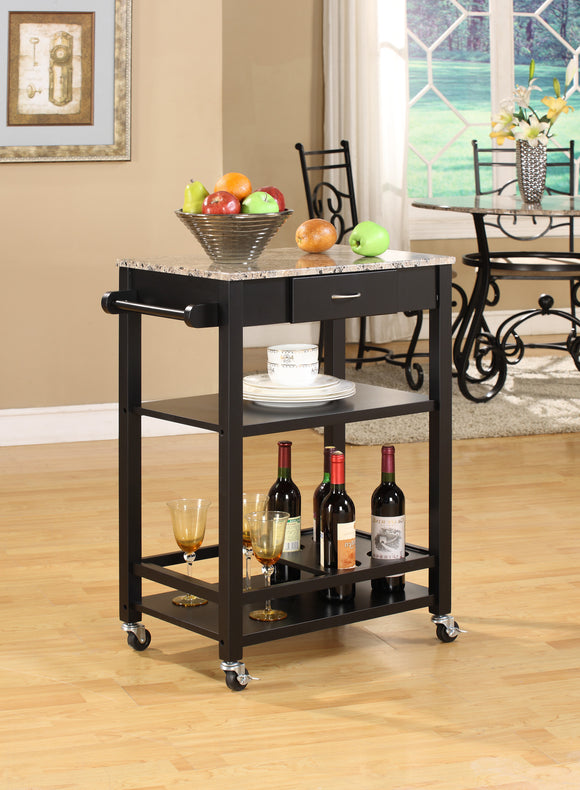 Jace Black & Marble Wood Contemporary Kitchen Serving Cart With Storage Drawer & Shelves - Pilaster Designs