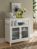 Ezra White Wood Contemporary Kitchen Storage Display Buffet Cabinet With Shelf & Glass Doors - Pilaster Designs