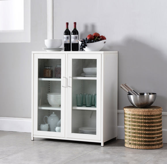 Markle White Iron Transitional Kitchen Storage Accent Cabinet Buffet With 2 Glass Doors & Shelves - Pilaster Designs
