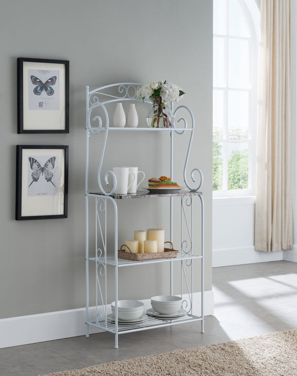 Destin Bakers Rack, White Metal & Marble Wood