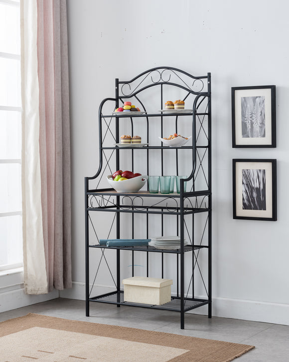 Leroy Black Metal & Walnut Wood Transitional 5 Tier Kitchen Bakers Rack - Pilaster Designs