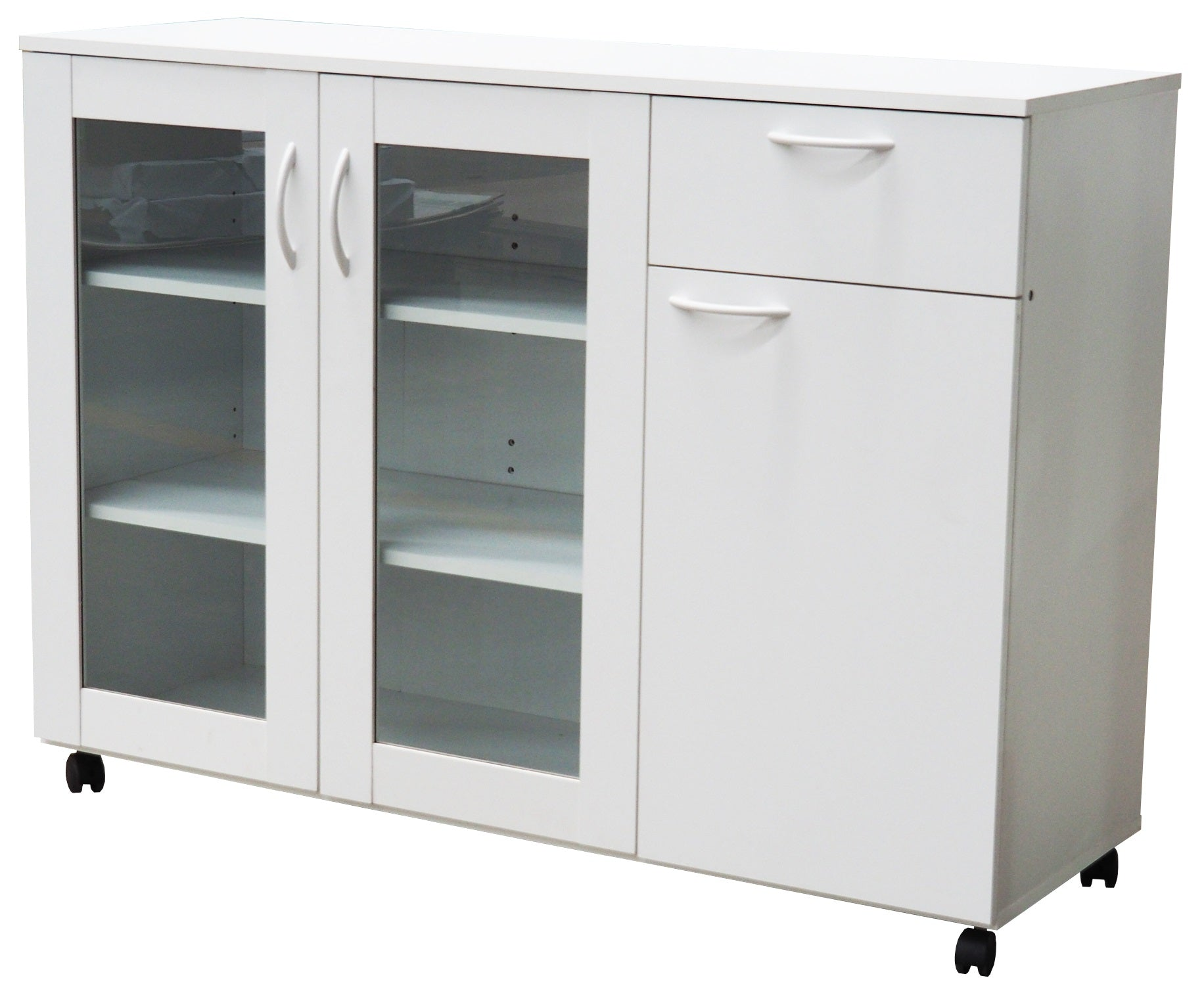 Picture of: Gremlin Wheeled Kitchen Storage Sideboard Buffet Cabinet With Adjustable Shelves Drawer White Wood Glass Contemporary Pilaster Designs