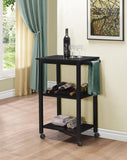 Miles Wood Traditional Kitchen Serving Cart With Storage & Wine Rack (Black, White) - Pilaster Designs