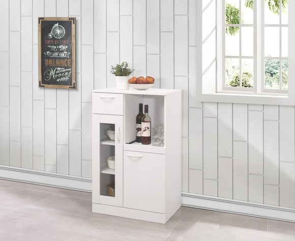 Gremlin Kitchen Cabinet, White Wood & Glass