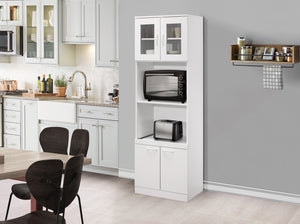 Gremlin Kitchen Pantry, White Wood & Glass