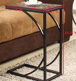 Pania Sofa Table, Black Metal & Faux Marble