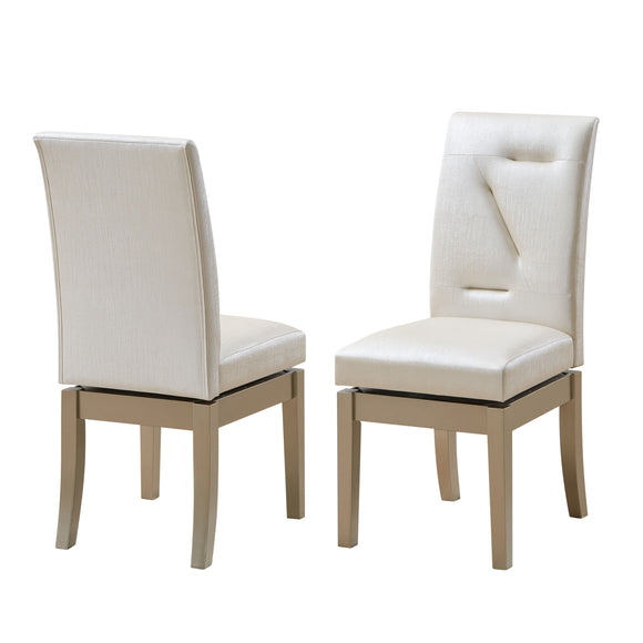 Legault Swivel Dining Chairs, White Vinyl & Gold Wood