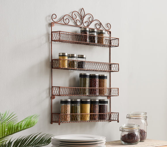 Avey Spice Rack, Brushed Copper Iron