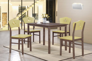 Chocolate Wood Rectangular Kitchen Dinette Dining Table & 4 Yellow Or Blue Chairs - Pilaster Designs
