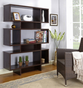 Elsie Wood 12 Cube 5 Tier Bookcase Display Shelves Cabinet For Home & Office (Espresso, White) - Pilaster Designs