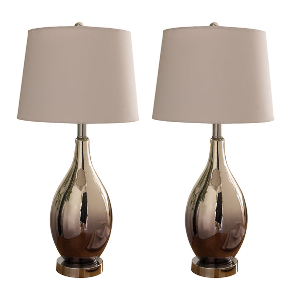 Lilyanna Chrome Glass Body & White Fabric Oval Shade Contemporary Multi Room Bedroom, Bedside, Desk, Bookcase, Living Room Table Lamps (Set of 2) - Pilaster Designs