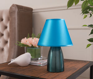 Zed Table Lamp, Blue Metal & Fabric