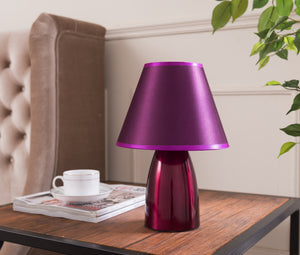Zed Table Lamp, Purple Metal & Fabric