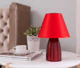 Zed Table Lamp, Red Metal & Fabric