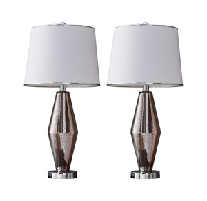Milan Table Lamp Set, Pink Silver Glass & White Fabric