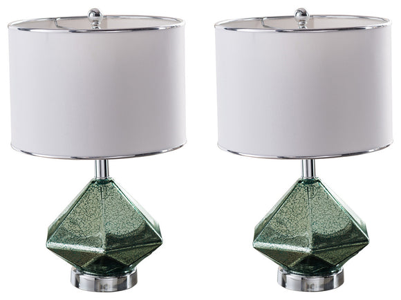 Macau Table Lamp Set, Blue Green Glass & White Fabric