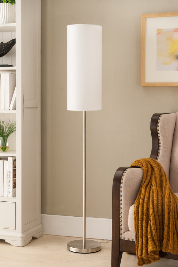 Maylee Brushed Nickel With White Cylinder Fabric Shade Modern Floor Standing Lamp (For Bedroom, Living Room) (Foot Step Switch) - Pilaster Designs