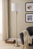 Riya Floor Lamp, Brushed Nickel Metal & White Fabric