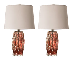 Davina Silver Pink Glass Body & White Fabric Oval Shade Transitional Multi Room Bedroom, Bedside, Desk, Bookcase, Living Room Table Lamps (Set of 2) - Pilaster Designs