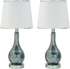 Halle Table Lamp Set, Blue Green Glass & White Fabric