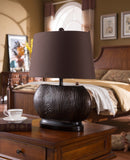 Tabitha Table Lamp Set, Espresso & Brown Fabric