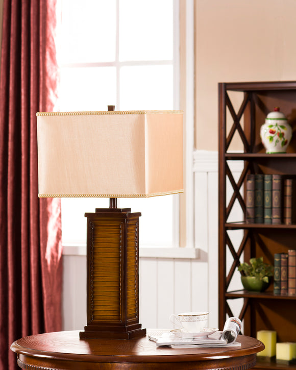 Sharon Table Lamp, Brown & Light Brown Fabric