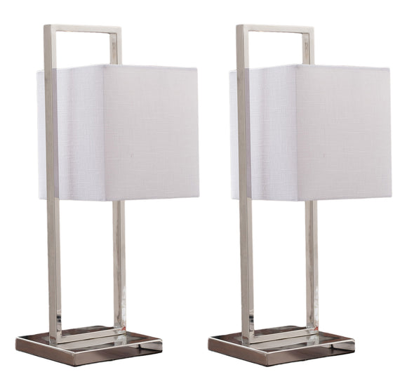 Caylee Stainless Steel With White Fabric Rectangle Shade Modern Rectangle Multi Room Bedroom, Bedside, Desk, Bookcase, Living Room Table Lamps (Set of 2) - Pilaster Designs