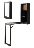 Evi Wood & Mirror Contemporary Wall-Mounted Fold-Out Convertible Home, Dorm & Office Storage Workstation Desk (Black, White) - Pilaster Designs