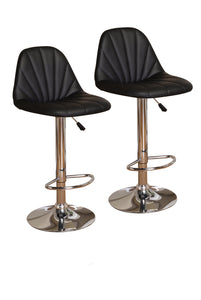 "Black, Red or White Vinyl Seat & Chrome Metal Transitional 24""/33"" Adjustable Height Pub, Bistro, Bar Stools (Set Of 2) - Pilaster Designs"